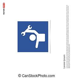 kék, fénykép keret, -, konstruál, ikon