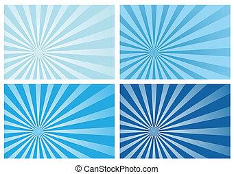 kék, fénysugár, nap szétrobbant, fény