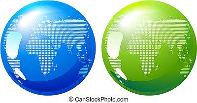 kék, földdel feltölt, zöld