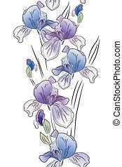 kék, függőleges, íriszkövek, seamless, fehér, határ