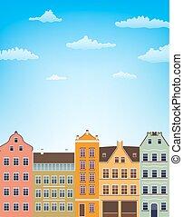 kék, függőleges, felett, ég, ábra, clouds., épület, vektor, retro, háttér