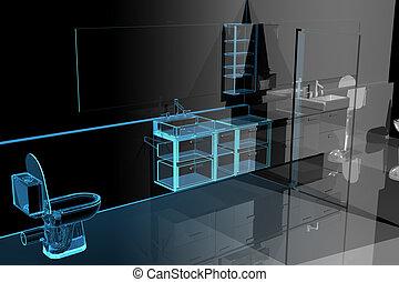 kék, fürdőszoba, (3d, transparent), modern, xray