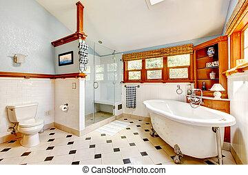 kék, fürdőszoba, klasszikus, nagy, belső, kád, tiles.