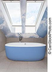kék, fürdőszoba, modern, fürdőkád
