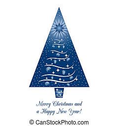 kék, fa, karácsonyi üdvözlőlap, köszönés