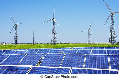 kék, fanyergek, nap-, ég, modern, turbines, windfarm, mező, állomás, zöld, áll, felül, fű, felteker
