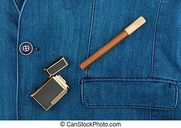 kék, farmeranyag, szivar, zakó, öngyújtó, fekvő