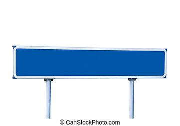 kék, fehér, elszigetelt, út cégtábla