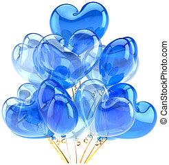 kék, fehér, fél, születésnap, léggömb