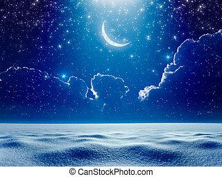 kék, felül, havas, starry ég, hold, sötét, fényes, növekedni, mező, éjszaka, reflektorfény, ég