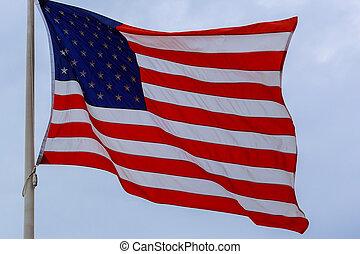 kék, felett, ég, lobogó lenget, amerikai