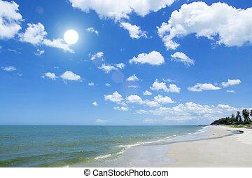 kék, felett, tengerpart., ég felhő