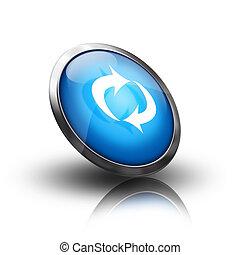 kék, felfrissít, ikon