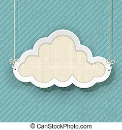 kék, felhő, retro, háttér, aláír