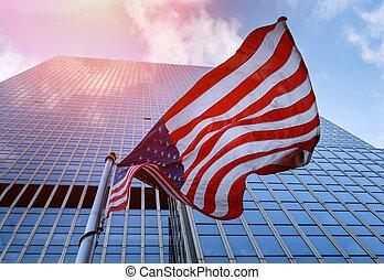 kék, felhőkarcoló, sky., amerikai, ellen, lenget lobogó