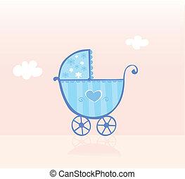 kék, fiú, sétáló, csecsemő, babakocsi, vagy