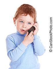 kék, fiú, telefon., beszél