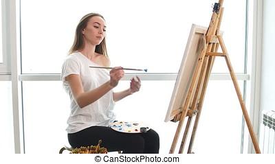 kék, film, vászon, olaj, női, neki, művész, fest, fiatal, workshop., festmény
