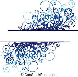 kék, floral határ