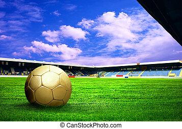 kék, foci kapu, játékos, után, ég terep, stadion, boldogság