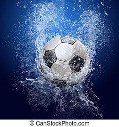 kék, focilabda, mindenfelé, víz, háttér, savanyúcukorka