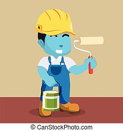 kék, fog, vödör, szobafestő, hajcsavaró