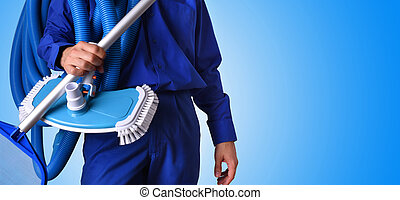 kék, fogalom, háttér, munkás, fenntartás, pocsolya, úszás
