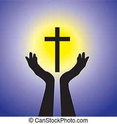 kék, fogalom, keresztény, hűséges, jámbor, nap, vagy, -, sárga, jézus, személy, buzgó, háttér, imádkozás, méltóság, cross(christ), feszület