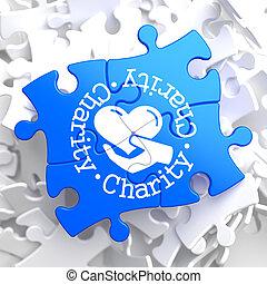 kék, fogalom, puzzle., jótékonyság