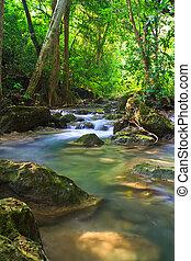 kék, folyik, vízesés, erdő, thaiföld, kanjanaburi