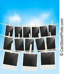 kék, frames., fénykép, függő, ég, ruhaszárító kötél, vektor, retro, háttér, tiszta, keret, fényképészeti, ruhaszárító csipeszek