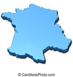 kék, franciaország, térkép, 3