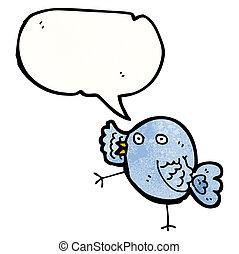 kék, furcsa, madár, karikatúra