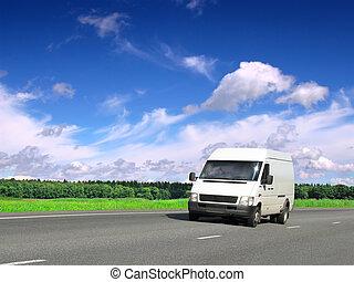 kék, furgon, ország, ég, alatt, fehér, autóút