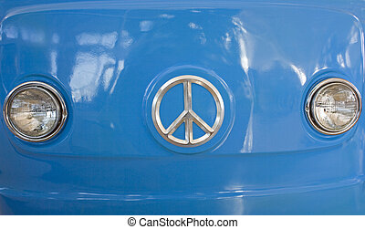 kék, furgon, retro