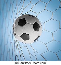 kék, futball nettó, labda, ég