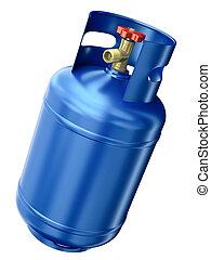 kék, gáz, konténer