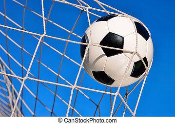kék, gól, labdarúgás, ég