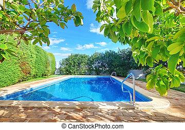 kék, garden., külső, víz, pocsolya, úszás