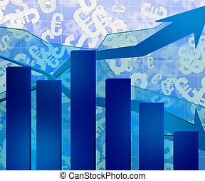 kék, gazdasági, diagram, háttér