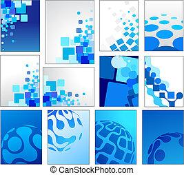 kék, geometriai, vektor, háttér