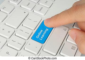kék, gombolódik tol, kéz, tanulás, online