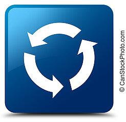 kék, gombol, derékszögben, felfrissít, ikon