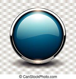 kék, gombol, fényes