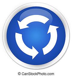 kék, gombol, felfrissít, sima, kerek, ikon