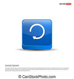 kék, gombol, -, reload, ikon, 3