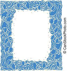 kék, grafikus, decoration.vector, keret, háttér, lenget, tengeri