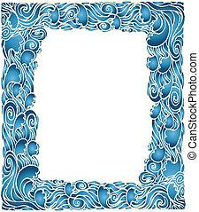 kék, grafikus, keret, decotation.vector, háttér, lenget, tengeri
