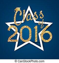kék, gratulálok, ünnepel, congrats, graduation., of., izbogis, ábra, magas, háttér., vektor, főiskola, fokozatokra osztás, 2016, osztály, fél, /