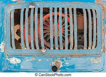 kék, grill, autó, berozsdásodott, csereüzlet, szüret